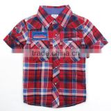 three colors available (C2671)baby boys' t shirt nova kids children clothes with plaid spring summer short sleeve check shirts