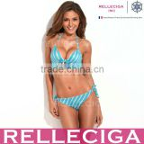 Bikini of the Year - RELLECIGA NEW Gorgeous Halter Top Blue Metallic Stripe Bikini Set with Molded Foam Padding