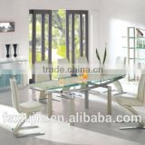 L808B 2015 alibaba website best selling items glass dining table with 8 Z shap chairs