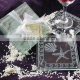 Wholesale Ocean beach temed glass coaster, wedding favors blank glass coaster