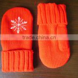 Lady's fashion knitted woolen glove,beautiful comfortable acrylic knitted glove with printing/embroidery/jacquard logo