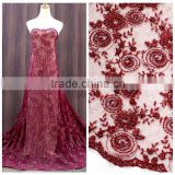 New wine beaded embroidery bridal laces fabrics/2016 factory wedding dress french net lace fabric/beaded bridal fabric                                                                         Quality Choice