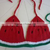 Sexy crochet watermelon women bikini swimwear,handmade watermelon bikini tops on the beach