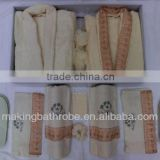HIgh quality classical 100% cotton Terry bathrobe slippers gift set
