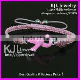 GZKJL-BL0432 Enamel Pink Ribbon Triple bracelet, Pink shamballa bead breast Cancer Awareness cheap bracelet