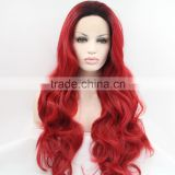 Dark Black to Burgundy Wavy Synthetic Lace Front Wig Glueless Ombre Celebrity Front Lace Wig Blonde