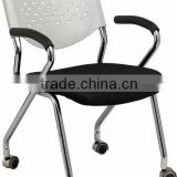 hot sale good quality white PP plastic back fabric seat chrome Office Chair with wheels A205-J08