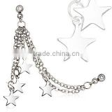 316L Surgical Stainless Steel Chained Stars Cartilage Earring Body Piercing Jewelry