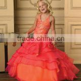 2013 halter beaded ruffled orange fuschia custom-made long girls pageant dress CWFaf4889