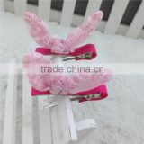 Lace Flower with Ribbon Lined Double Prong Alligator Hair Clip for Baby Children Hair Accessories