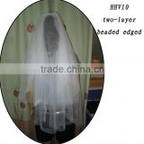 HHV10 2011 Wholesale New two Layers Bead Edged Real Sample Bride Wedding Veil