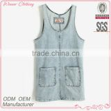 2015 summer sleeveless women's clothing garment apparel direct factory OEM/ODM manufacturing modern design blouse in jean