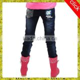 wholesale girl's jeans cheap kids jeans with beautiful pattern
