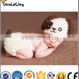 NPT22 Tinalulingwhite and brown colors dog design handmade knitting suit newborn baby photography props