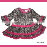 Latest summer style wholesale boutique cute leopard small baby design dresses