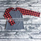 Wholesale baby girls ruffle raglan kids cotton plaid christmas baseball shirts children boutique tops