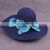 Collapsible Butterfly Straw Hat Blue Flower Large Eaves Sunscreen Beach Hat