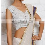WHITE RAW SILK BOLLYWOOD BLOUSE FOR WOMEN