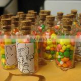 New Empty Clear Glass Bottles Vials With Cork Stopper Storage Borosilicate
