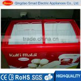 Commercial quick freezing glass top ice cream chest deep freezers