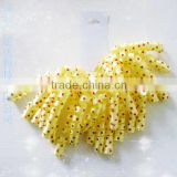 Yellow Laminate curly bow on clip for wedding decorations/chrismas packing/gift packaging