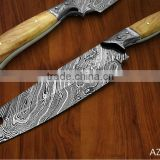 "udk 2"" damascus razor sharp sushi chef knife with leather sheath"
