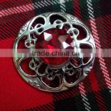Celtic Design Piper Plaid Brooch With Red Stone In Chrome Finish Made Of Brass Material