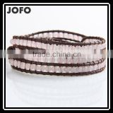 2016 Pink Bracelets Boho Style 4mm Clear Crystal Beaded Bracelets Fine Jewelry On Brown Leather Charm Jewelry