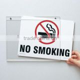 wall mounted acrylic 12''*9'' no smoking sign board holder safety signs labels/stickers/board acrylic signpost with slot paper