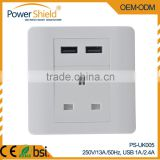 Type G UK electric 13Ampe wall socket with 2 usb charger with changeable panel 230V 13A