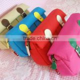 2016 Hot sale colorful canvas pencil bags simple design fashion lovely school pen pouch cute bags