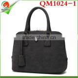 2016 women fashion handbag zipper Women black tote bag, women casual shoulder bag QM1024-1