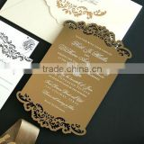 elegant laser cut gold acrylic with white screen pritning for wedding invitation cards                                                                         Quality Choice