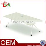 2015 modern elegant white leather grain office product new design meeting table M20-01-24