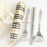 Stainless Steel Traveling cutlery spoon and chopsticks with water-proof cloth bag packing
