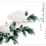 Pop chinese beautiful single peony flower painting for house decoration wall hanging