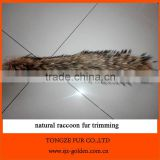 natural color real raccoon fur trim strips for hood
