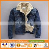 Custom Popular Men Winter Warm Denim Coat Cowboy Jeans Jacket With Fleece Lining For Men