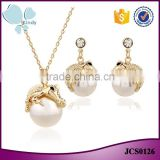 Fancy jewelry gold plated zinc alloy pearl pendant alligator earring necklace set                                                                                                         Supplier's Choice
