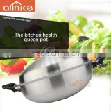 Allnice health high efficiency nonstick cookware metal stainless steel frying pan with sanding body double bakelite handle