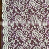 Purple jacquard swiss voile elastic nylon lace fabric for wedding and dressing, cheap water soluble african lace mesh fabric