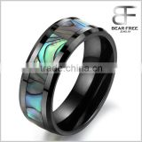 South Korea Style New Fashion Abalone Stripe Space Ceramic Men's Rings Cool Gift