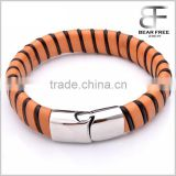 Brown and Black Stripe Leather Braided Cuff Bracelet Wristband, Couples Christmas Gift Stainless Steel Clasp