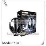 Hot 5 in 1 Bluetooth headset Wireless earphone/headphone for FM radio hot sell in Alibaba.com