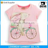 china low price wholesales stylish summer red short sleeve fancy kids t-shirt with embroider bike