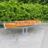 Backless metal leg park bench outdoor bench wood