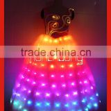 New design skirts with light/led luminous fiber optics fabric made in China,OEM customize fiber optic costume