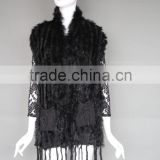 High Quality Black Women Yarn And Rabbit Fur Knit Wholesale Vest