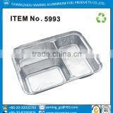 foil container 3 diveded compartment restaurant food storage take out foil tray aluminium foil lunch box