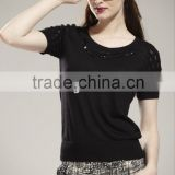 ladies' scoop neck short sleeve pullover solid color knitted sweater with sequin & stone beading